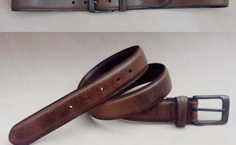 Classic Feather Edge Waxy leather Belt-131118
